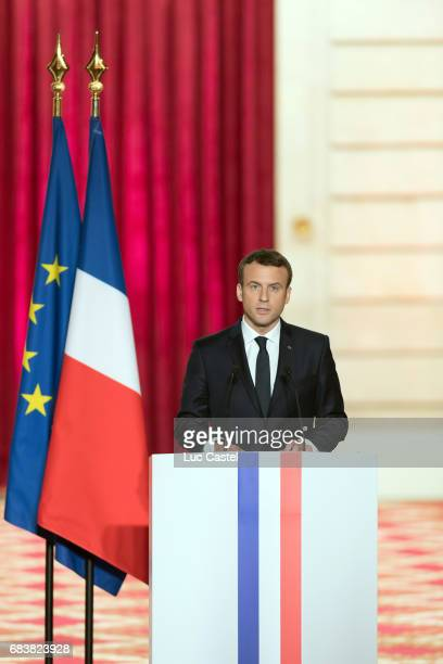 Emmanuel Macron Officially Inaugurated as French President at Elysee Palace on May 14 2017 in Paris France