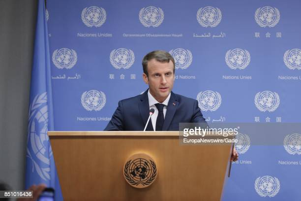 Emmanuel Macron President of France addresses a press conference in the margins of the General Assembly's annual general debate at the United Nations...