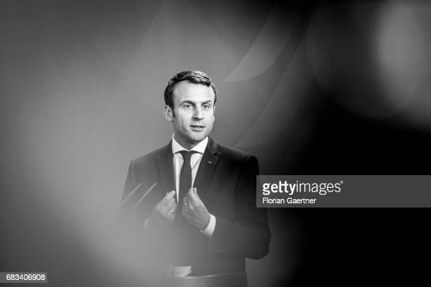 Image has been converted to black and white BERLIN GERMANY MAY 15 Emmanuel Macron President of France is pictured during a press conference with...