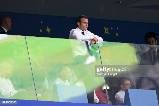 Emmanuel Macron President of France looks on from the stands during the 2018 FIFA World Cup Final between France and Croatia at Luzhniki Stadium on...