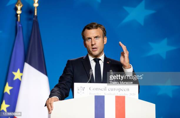Emmanuel Macron President of France speaks at the end of the first day of an EU Chief of State Summit in the Justus Lipsius building, the EU Council...