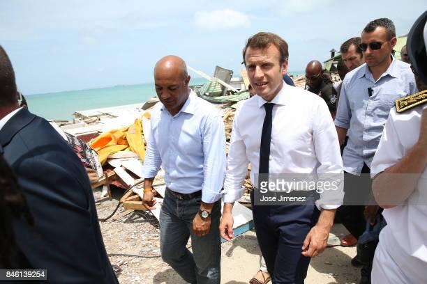Emmanuel Macron President of France witn Saint Martin President Daniel Gibbs during his visit after the passing of Hurricane Irma on September 12...
