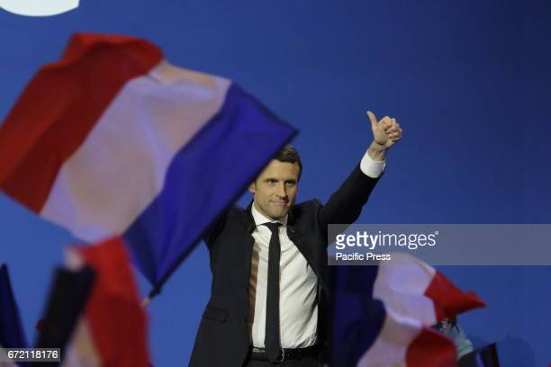 Emmanuel Macron the Presidential candidate from the social liberal political party En Marche addressed his supporters after it became clear that he...