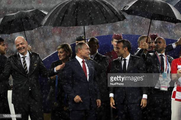 Emmanuel Macron Vladimir Putin during Russia 2018 World Cup final football match between France and Croatia at the Luzhniki Stadium in Moscow on July...