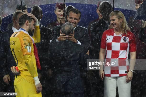 Emmanuel Macron Vladir Poutine Kolinda GrabarKitarovic Vladimir Putin Didier Deschamps Hugo Lloris during Russia 2018 World Cup final football match...