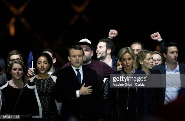 Emmanuel Macron with his wife Brigitte Trogneux celebrate his presidential election victory at Le Louvre on May 7 2017 in Paris France