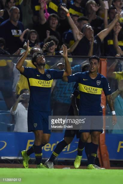 Emmanuel Mas of Boca Juniors celebrates after scoring the first goal of his team during a match between Boca Juniors and Lanus as part of Superliga...