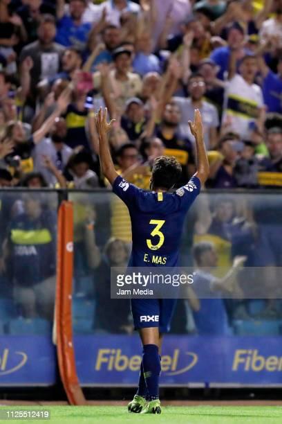 Emmanuel Mas of Boca Juniors celebrates his side's first goal during a match between Boca Juniors and Lanus as part of Superliga 2018/19 at Estadio...