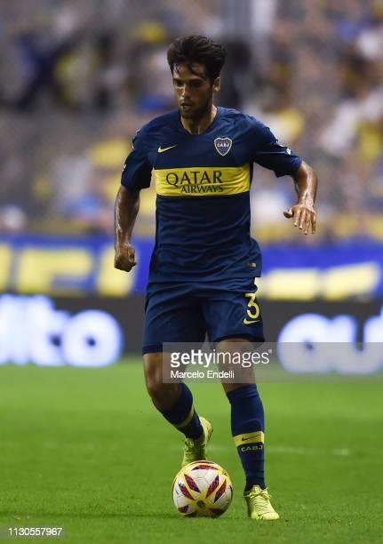 Emmanuel Mas of Boca Juniors drives the ball during a match between Boca Juniors and Lanus as part of Superliga 2018/19 at Estadio Alberto J Armando...