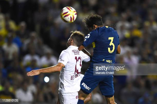 Emmanuel Mas of Boca Juniors heads the ball to score the first goal of his team during a match between Boca Juniors and Lanus as part of Superliga...