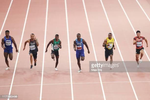 Emmanuel Matadi of Liberia, Andre De Grasse of Canada, Raymond Ekevwo of Nigeria, Justin Gatlin of the United States, Yohan Blake of Jamaica, and...