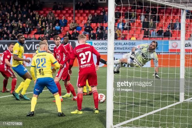 Emmanuel Mbende of SC Cambuur Leeuwarden Andrejs Ciganiks of SC Cambuur Leeuwarden Bram van Vlerken of Almere City Youri Loen of Almere City...