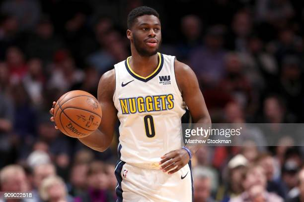 Emmanuel Mudiay of the Denver Nuggets brings the ball down the court against the Portland Trail Blazers at the Pepsi Center on January 22 2018 in...