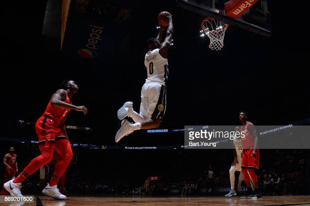 Emmanuel Mudiay of the Denver Nuggets drives to the basket against the Toronto Raptors on November 1 2017 at the Pepsi Center in Denver Colorado NOTE...