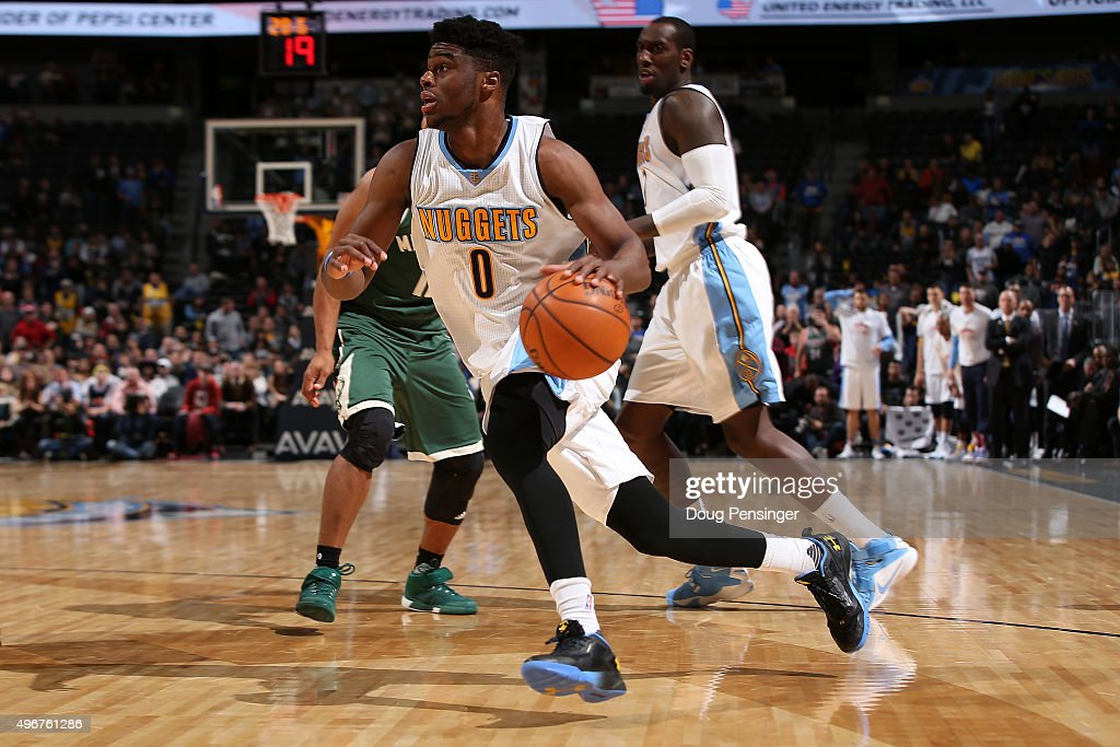 Emmanuel Mudiay #0 of the Denver Nuggets drives with the ball against the Milwaukee Bucks at Pepsi Center on November 11, 2015 in Denver, Colorado. The Nuggets defeated the Bucks 103-102.