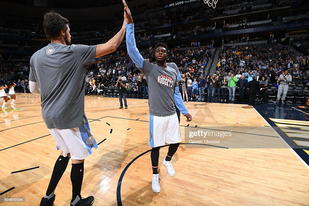 Emmanuel Mudiay #0 of the Denver Nuggets gets introduced before the game against the Golden State Warriors on November 10, 2016 at the Pepsi Center in Denver, Colorado.