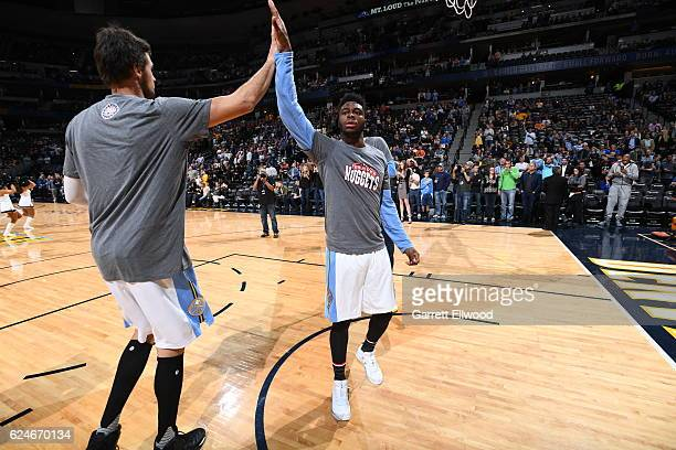 Emmanuel Mudiay of the Denver Nuggets gets introduced before the game against the Golden State Warriors on November 10 2016 at the Pepsi Center in...