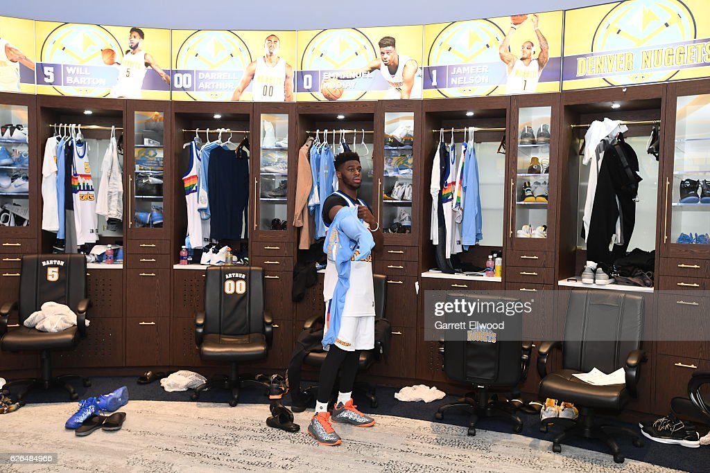 Emmanuel Mudiay #0 of the Denver Nuggets gets ready before a game against the Portland Trail Blazers on October 29, 2016 at the Pepsi Center in Denver, Colorado.