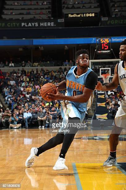 Emmanuel Mudiay of the Denver Nuggets goes to the basket against the Memphis Grizzlies on November 8 2016 at FedExForum in Memphis Tennessee NOTE TO...