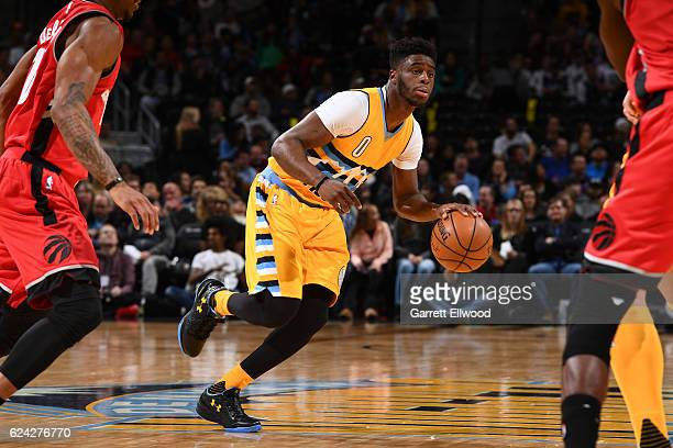 Emmanuel Mudiay of the Denver Nuggets handles the ball against the Toronto Raptors on November 18 2016 at the Pepsi Center in Denver Colorado NOTE TO...