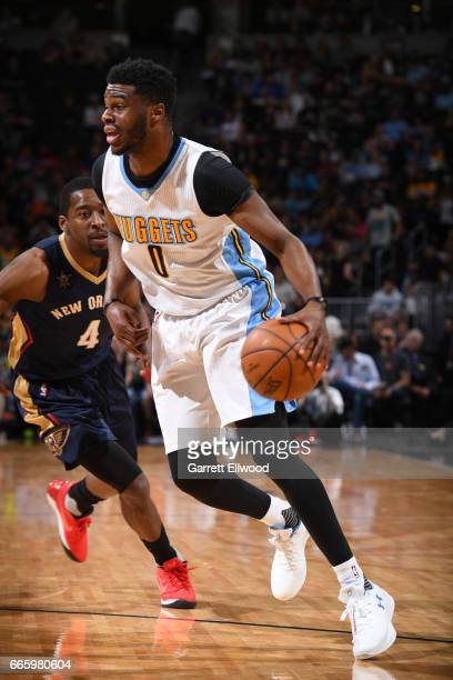 Emmanuel Mudiay of the Denver Nuggets handles the ball against the New Orleans Pelicans on April 7 2017 at the Pepsi Center in Denver Colorado NOTE...