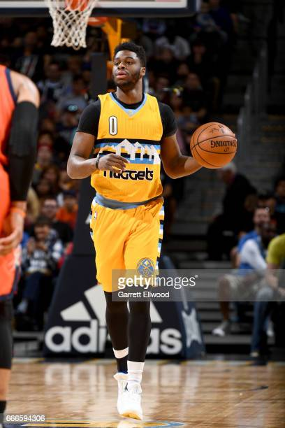 Emmanuel Mudiay of the Denver Nuggets handles the ball against the Oklahoma City Thunder on April 9 2017 at the Pepsi Center in Denver Colorado NOTE...