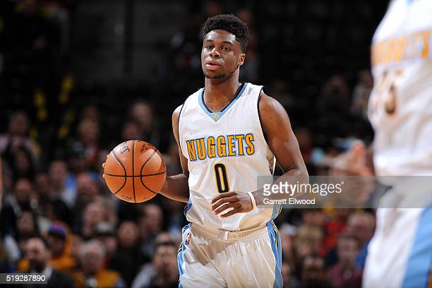 Emmanuel Mudiay of the Denver Nuggets handles the ball during the game against the Oklahoma City Thunder on April 5 2016 at the Pepsi Center in...