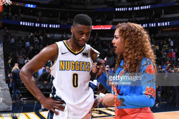 Emmanuel Mudiay of the Denver Nuggets is interviewed by Rosalyn GoldOnwude go TNT after the game against the Oklahoma City Thunder on November 9 2017...