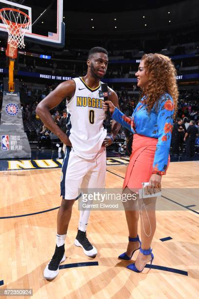 Emmanuel Mudiay of the Denver Nuggets is interviewed by Rosalyn GoldOnwude after defeating the Oklahoma City Thunder on November 9 2017 at the Pepsi...