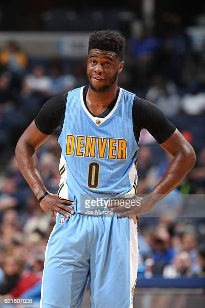 Emmanuel Mudiay of the Denver Nuggets looks on against the Memphis Grizzlies on November 8 2016 at FedExForum in Memphis Tennessee NOTE TO USER User...