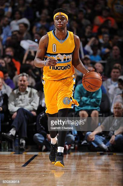 Emmanuel Mudiay of the Denver Nuggets runs up court against the Utah Jazz during the game on April 10 2016 at Pepsi Center in Denver Colorado NOTE TO...