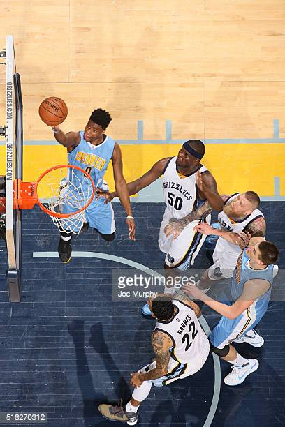 Emmanuel Mudiay of the Denver Nuggets shoots a layup against the Memphis Grizzlies on March 30 2016 at FedExForum in Memphis Tennessee NOTE TO USER...