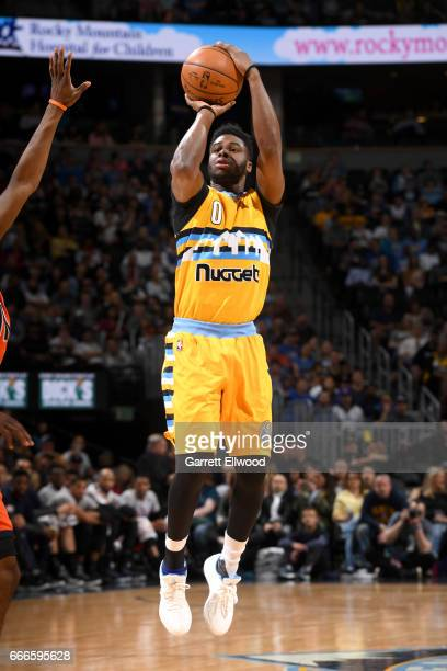 Emmanuel Mudiay of the Denver Nuggets shoots the ball against the Oklahoma City Thunder on April 9 2017 at the Pepsi Center in Denver Colorado NOTE...