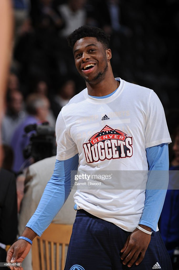 Emmanuel Mudiay #0 of the Denver Nuggets warms up before the game against the Milwaukee Bucks on November 11, 2015 at the Pepsi Center in Denver, Colorado.