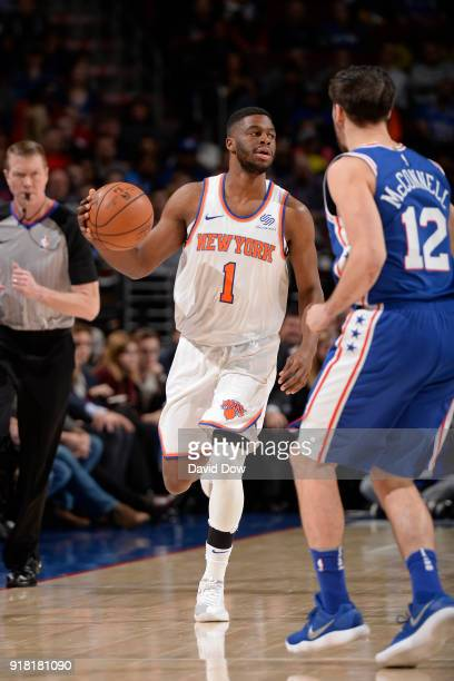 Emmanuel Mudiay of the New York Knicks dribbles the ball against the Philadelphia 76ers on February 12 2018 in Philadelphia Pennsylvania at Wells...