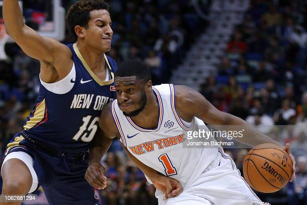 Emmanuel Mudiay of the New York Knicks drives against Frank Jackson of the New Orleans Pelicans during the second half at the Smoothie King Center on...