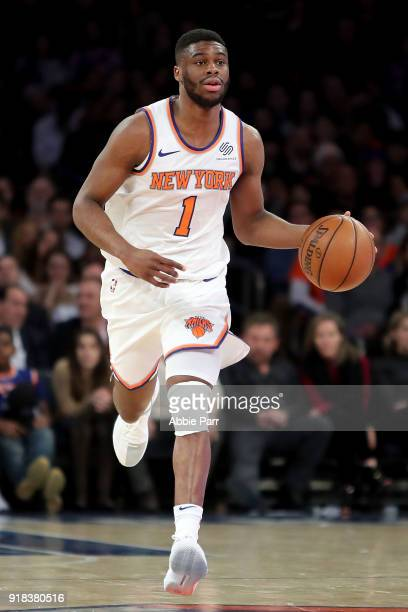 Emmanuel Mudiay of the New York Knicks drives to the basket in the second half against the Washington Wizards during their game at Madison Square...