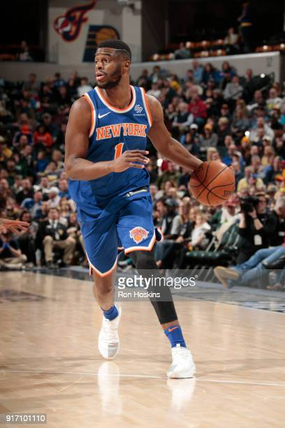 Emmanuel Mudiay of the New York Knicks handles the ball against the Indiana Pacers on February 11 2018 at Bankers Life Fieldhouse in Indianapolis...