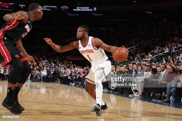 Emmanuel Mudiay of the New York Knicks handles the ball against the Miami Heat on April 6 2018 at Madison Square Garden in New York City New York...