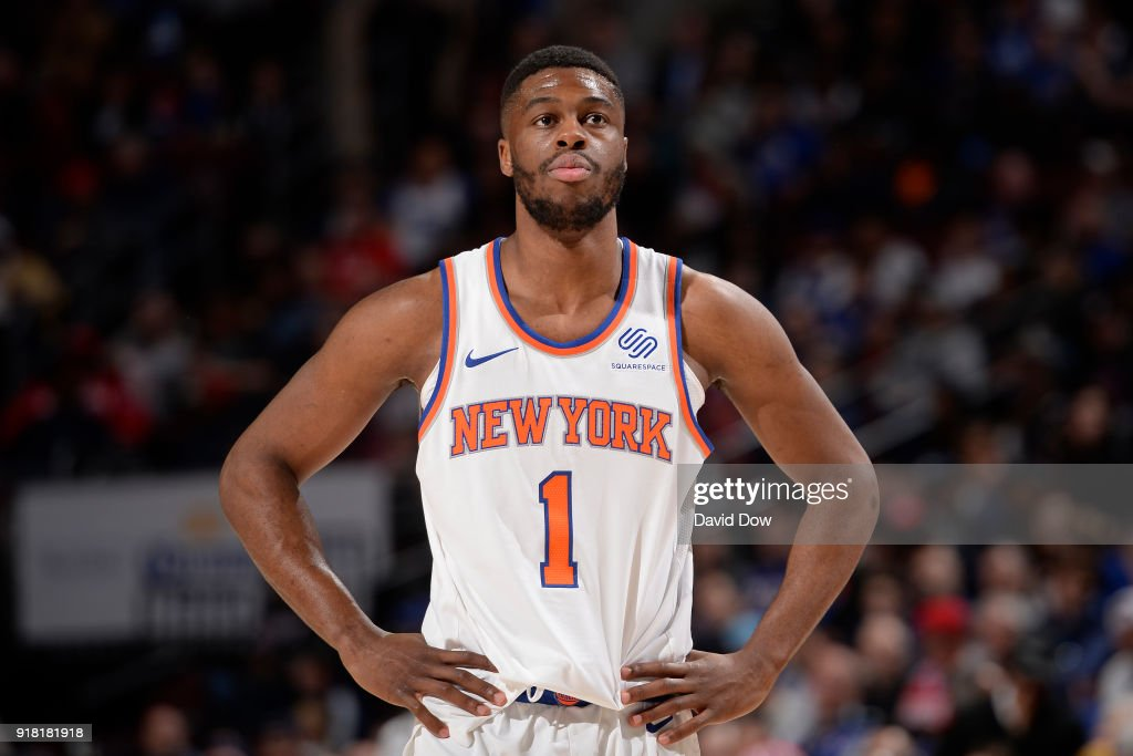 Emmanuel Mudiay #1 of the New York Knicks looks on against the Philadelphia 76ers on February 12, 2018 in Philadelphia, Pennsylvania at Wells Fargo Center.