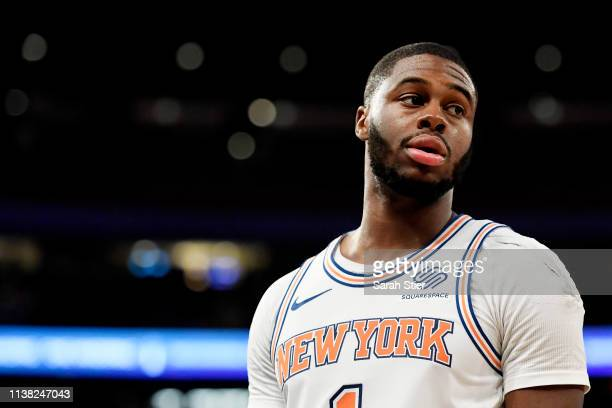 Emmanuel Mudiay of the New York Knicks looks on during the second half of the game against the Denver Nuggets at Madison Square Garden on March 22...