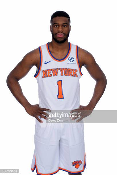 Emmanuel Mudiay of the New York Knicks poses for a portrait at the Madison Square Garden Training Center on February 10 2018 in Tarrytown New York...