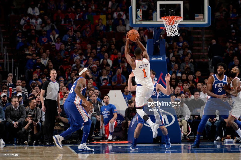 Emmanuel Mudiay #1 of the New York Knicks shoots the ball against the Philadelphia 76ers on February 12, 2018 in Philadelphia, Pennsylvania at Wells Fargo Center.