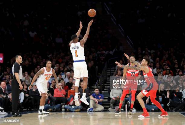Emmanuel Mudiay of the New York Knicks takes a shot against the Washington Wizards in the first quarter during their game at Madison Square Garden on...