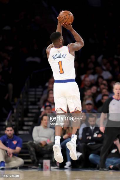Emmanuel Mudiay of the New York Knicks takes a shot against the Washington Wizards in the first half during their game at Madison Square Garden on...