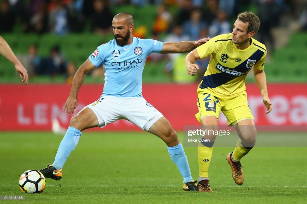 Emmanuel Muscat of Melbourne City controls the ball during the round 26 A-League match between Melbourne City and the Central Coast Mariners at AAMI Park on April 7, 2018 in Melbourne, Australia.