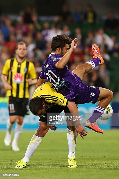 Emmanuel Muscat of the Phoenix and Daniel de Silva of the Glory contest for the ball during the round seven A-League match between Perth Glory and...