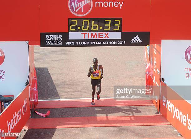 Emmanuel Mutai of Kenya comes second place during the mens elite race at the 2013 Virgin London Marathon on April 21 2013 in London England