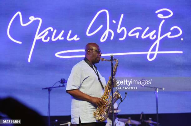 Emmanuel N'Djoke Dibango known as Manu Dibango saxophonist and FrancoCameroonian singer of world jazz performs during his concert on June 29 2018 at...