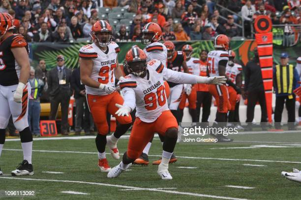 Emmanuel Ogbah of the Cleveland Browns celebrates a defensive stop during the game against the Cincinnati Bengals at Paul Brown Stadium on November...